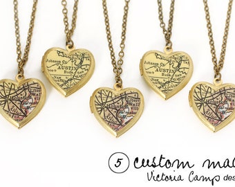 QUANTITY of 5 - Custom Map Necklaces, Small Vintage Heart Locket, Brass Chain, Map Jewelry, Personalized Bridesmaid Gifts
