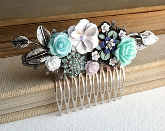 Bridal hair comb, SALE, mint, lilac, green, bridal hair accessories,woodland wedding, mint, something blue, garden wedding, collage