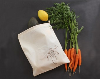 Produce tote bag organic cotton sushi that's how I roll print screen printed with black ink