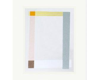 Modern, minimal abstract original art. Geometric screenprint by Emma Lawrenson
