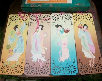 Set Of 8 Old Paper Chinese Folk Arts Tennyo Apsaras Fairies Book Marker Original Presentation Box