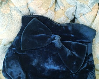 Vintage Blue Velvet Clutch Evening Bag