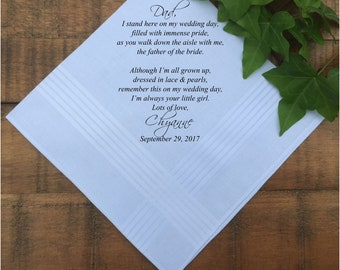 Father of the Bride Gift • Father of the Groom Gift from Bride • Parents Wedding Gift • Wedding Favors • Wedding Hanky PRINTED (H 030)