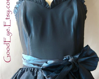 Vintage Gunne Sax Petticoat Dress Blue Taffeta / small size 2 4 6 / Jessica McClintock Corset Bodice / Evening  Prom 1980s
