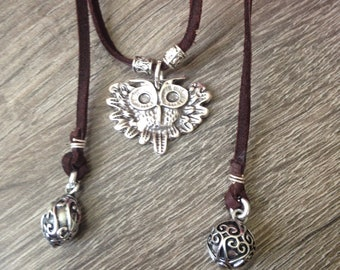 Leather wrap necklace-Owl charm necklace-Fun,Casual,Boho jewelry
