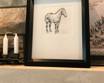 "Framed original horse art - ""Percheron Sketch"" - graphite pencil drawing"