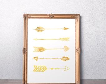Gold arrow print Tribal foil print Nursery Prints Foil arrow printable Arrow Wall Prints Nursery gift Tribal kids room decor Printable art