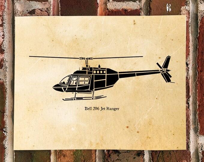 KillerBeeMoto: Limited Print Bell 206 Jet Ranger Helicopter Print 1 of 100