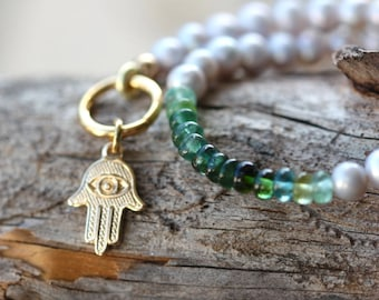 Green Tourmaline and Freshwater Pearl Bracelet, 14k Gold Filled