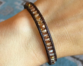 Brown and amber Bohemian Wrap bracelet czech glass beads and leather cord