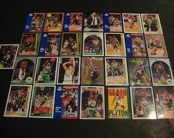 SALE -Vintage Team Lot of Seattle SuperSonics Greats Basketball Cards - Sonics -Star/Hall Of Fame Card Lot -Kemp, Payton, Pierce, Ellis, etc