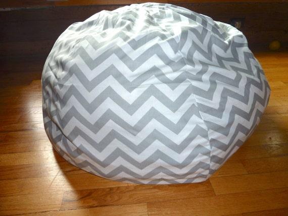Grey U0026 White Chevron Bean Bag Chair Cover Silver Gray Red