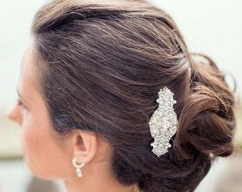 Vintage Inspired Bridal Crystal Hair Comb Brooch