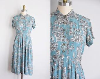 40s Little Treasures dress / vintage 1940s novelty dress/ Toni Karen rayon daydress