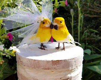 SALE NEW 2018 yellow birds wedding cake topper or wedding anniversary or  exotic  tropical wedding love birds cake topper