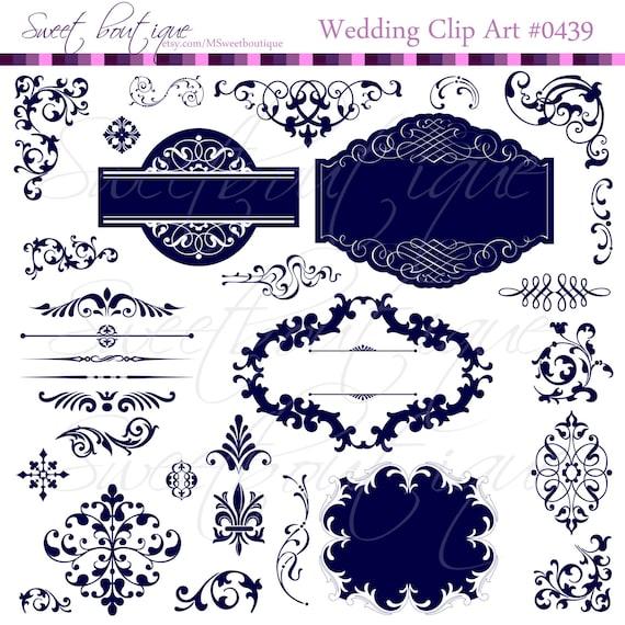 NAVY BLUE Wedding Digital Frames clip art clipart with Digital