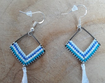 Pair of earrings with colorful delica over 925 sterling silver