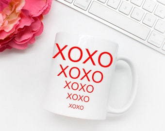 XOXO 11 oz coffee mug. Valentines Day Gift for Her. 11 oz Coffee Mugs. Valentines Day Gift for Him. Cute Valentines Day Gift Under 15.