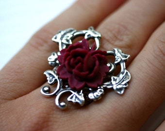 Victorian Red Rose Ring in Silver