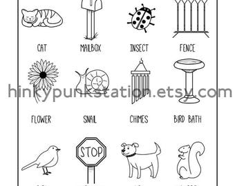 Neighborhood Scavenger Hunt Things to Find Printable Coloring Page