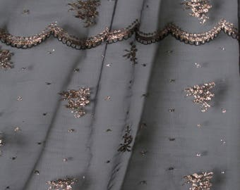 "1 yard Gorgeous Fine Black Netting with Gold Floral and Scallops Sheer Poly Metalic Fabric 50"" wide (sold BTY)"