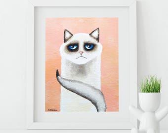 Cat Lover Gift, Cat Art Print, Ragdoll Cat Portrait Whimsical Cat, Funny Animal Art Cat Home Decor
