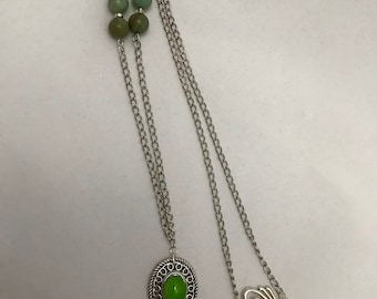 Fused Glass Green Chakra Necklace