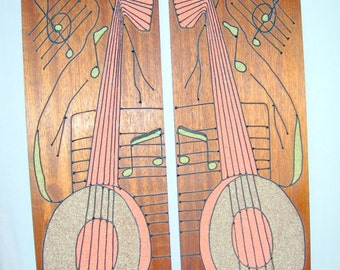 2  Large Wooden Music/Banjo Wall Plaques Decor with Mosaic Style Inlay- Retro/Mod/Handmade