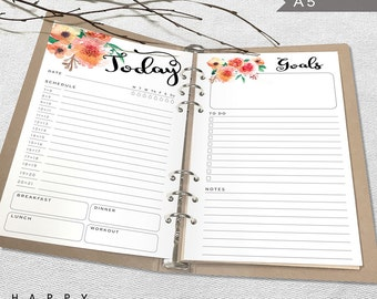 Printable Inserts Daily Planner, A5 Daily Planner Inserts, Printable A5 Organizer Notebook Daily planner inserts, PDF file