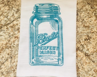 Vintage Ball Jar Blue Glass Dish Towel Flour Sack Tea Towel (WHOLESALE)