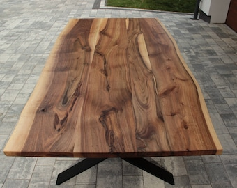 Hand Made Natural Live Edge Walnut Dinning Table, Handmade Walnut Table, Solid Walnut, Steel Frame Table