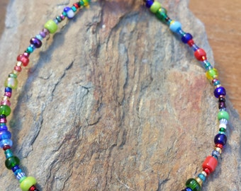 Handmade beaded anklet in colorful confetti glass beads with a starfish, ocean anklet, beachy jewelry, beautiful handmade anklet, colorful