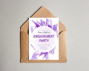 Purple Watercolour Engagement OR Wedding Invitation