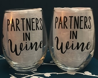 Partners in Wine Set of 2 Wine Glasses