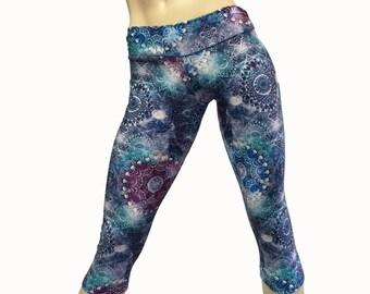 Yoga Pants - Workout Clothes - Hot Yoga - Fitness - Blue - Kaleidoscope - Low Rise - Capri - Plus Size Workout - SXY Fitness - USA -