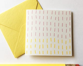 Tiny Card Set of 8 - Pastel Lines. Set of 8 Cards + Tuck in Envelopes.  Gift Tag