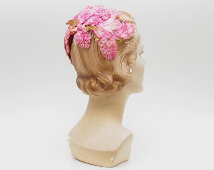 Vintage 1950s Pink Floral Casque Hat