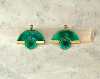 Handpainted Earrings, Green Earrings, Clay earrings, Clay Jewelry, Porcelain Earrings, Large Statement Earrings, Big Earrings, Stude Large