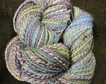 Handspun Merino, Silk and Vintage Silver Threads Yarn (Paris)  146 yards