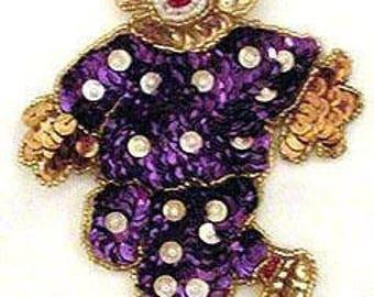Sequins & Beaded Purple White Polka Dot Clown (Medium) Applique