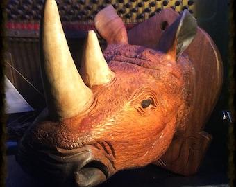 Rhino Head. Faux Taxidermy, Rhinoceros Trophy. Hand carved wood rhino-