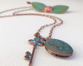 Hand Painted Locket, Copper Locket, Key Locket, Mother's Day, Key Necklace, Copper Necklace, Turquoise Locket, Photo Locket, Oval Locket