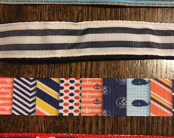 "1"" Nautical and stripes adjustable dog collars"