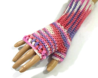 Pastel Fingerless Gloves, Pink Acrylic Gloves, Vegan Gloves, Ladies Pink Gloves, Pastel Handwarmers, Multicolour Gloves, Spring Fashion