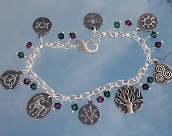 Deluxe Celtic Faerie Symbols Sterling Silver Charm Bracelet w/ Crystals- goddess, triquetra, unicorn, fairy star, tree of life, spirals, sun