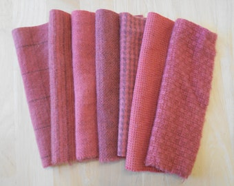 Rose - Pink - Petunia Hand Dyed Felted Wool in a Beautiful Collection a Perfect Rug Hooking and Applique Wool