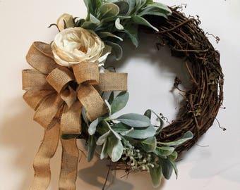 Spring Wreath for Front Door, Rustic Wreath, Everyday Wreath, Front Door Wreath, Mothers Day, Year Round Wreath, Wreaths and Door Hangers