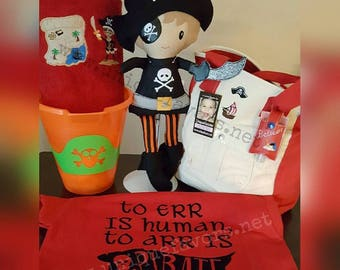 "Custom Handmade Pirate XL 18"", LG 15"" or Med 11"" Doll or Gift set. Each is unique, one of a kind! Doll is Fully washable! Choose options!"