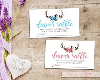 Antler Diaper Raffle Ticket, Boho Baby Shower Diaper Raffle Instant Digital Download