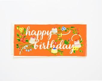 Happy Birthday Card Branches & Cake Tangerine
